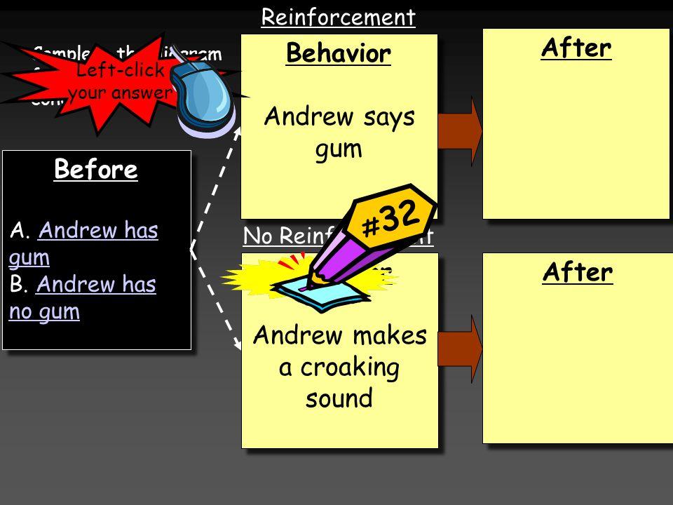 Before A. Andrew has gumAndrew has gum B. Andrew has no gumAndrew has no gum Before A. Andrew has gumAndrew has gum B. Andrew has no gumAndrew has no