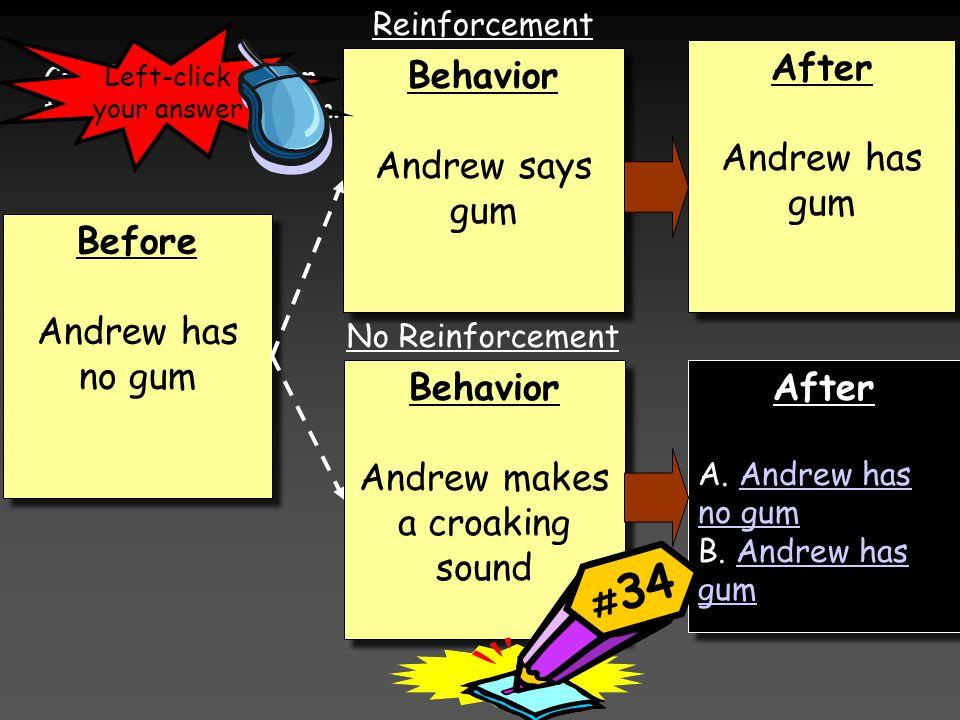 Before Andrew has no gum Before Andrew has no gum Behavior Andrew makes a croaking sound Behavior Andrew makes a croaking sound Behavior Andrew says gum Behavior Andrew says gum After Andrew has gum After Andrew has gum After A.