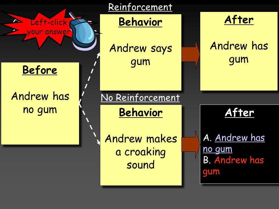 Before Andrew has no gum Before Andrew has no gum Behavior Andrew makes a croaking sound Behavior Andrew makes a croaking sound Behavior Andrew says g