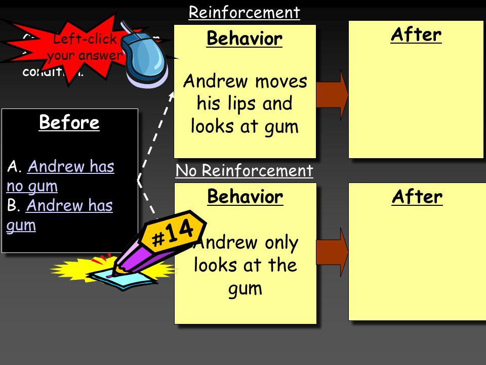 Before A. Andrew has no gumAndrew has no gum B. Andrew has gumAndrew has gum Before A. Andrew has no gumAndrew has no gum B. Andrew has gumAndrew has