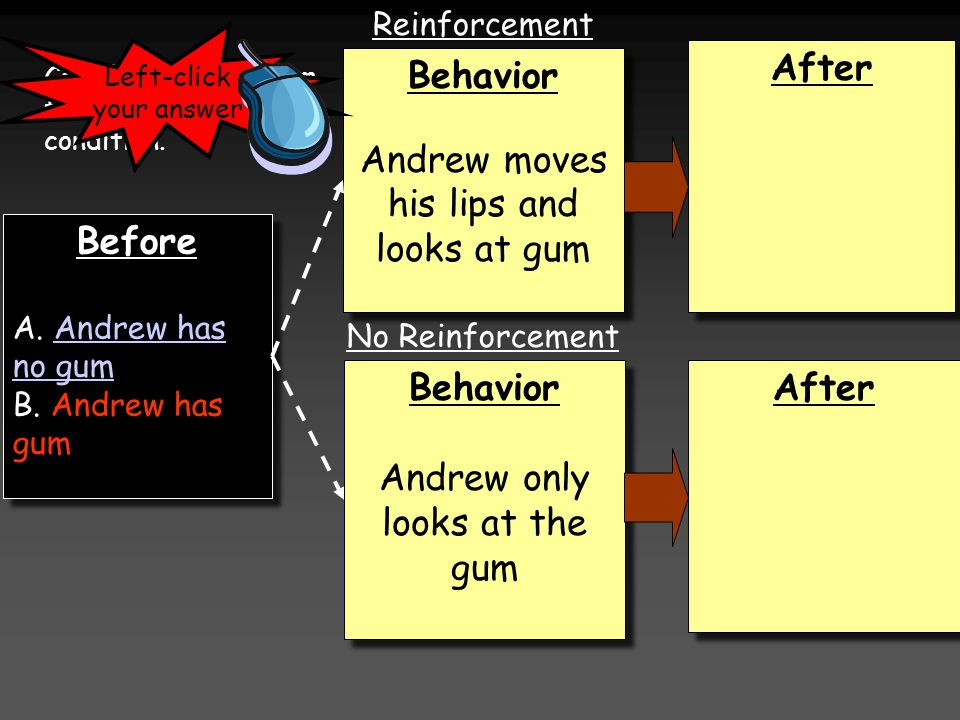 Before A. Andrew has no gumAndrew has no gum B. Andrew has gum Before A.