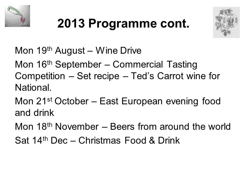 2013 Programme cont.