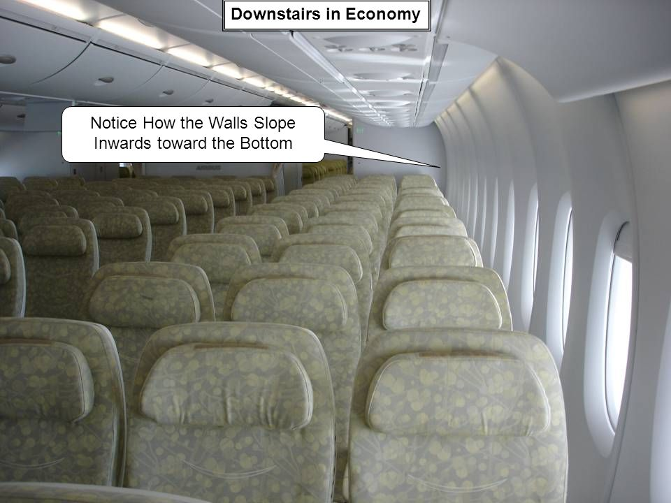 Downstairs in Economy Notice How the Walls Slope Inwards toward the Bottom
