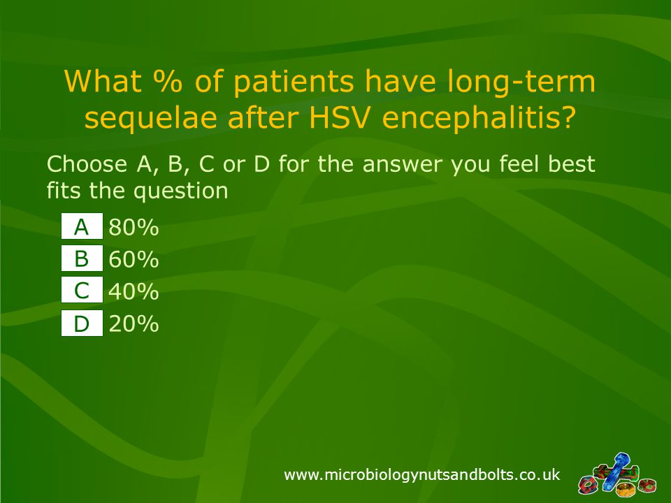 www.microbiologynutsandbolts.co.uk What % of patients have long-term sequelae after HSV encephalitis.