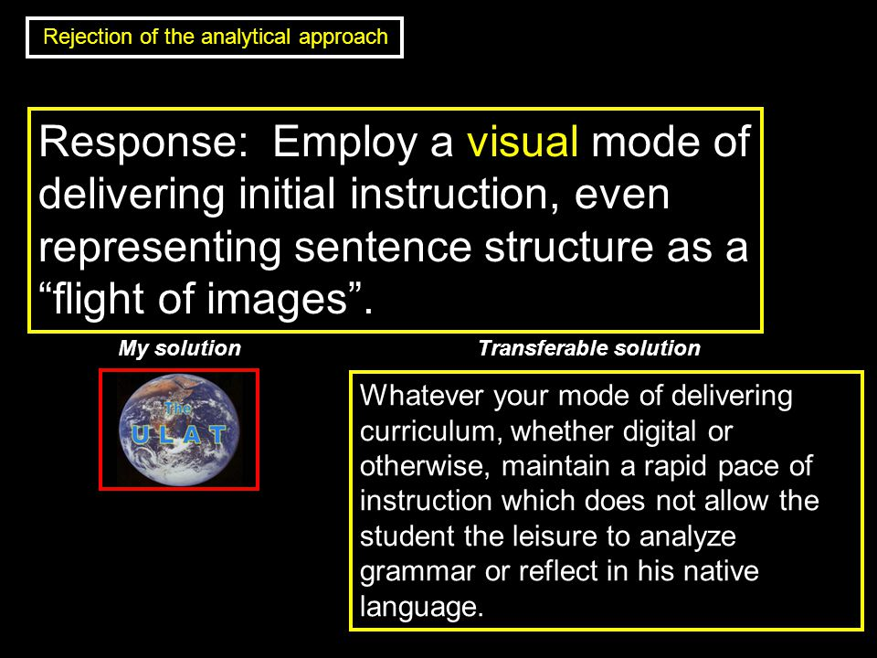 Response: Employ a visual mode of delivering initial instruction, even representing sentence structure as a flight of images .