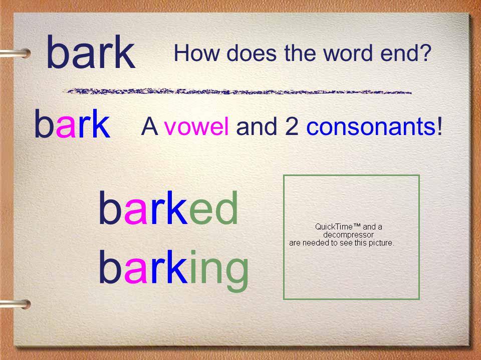bark bark barked A vowel and 2 consonants! barking