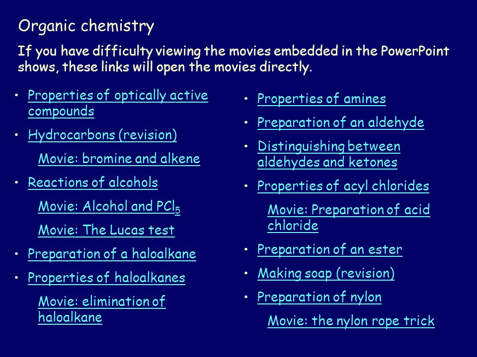 Organic chemistry If you have difficulty viewing the movies embedded in the PowerPoint shows, these links will open the movies directly.
