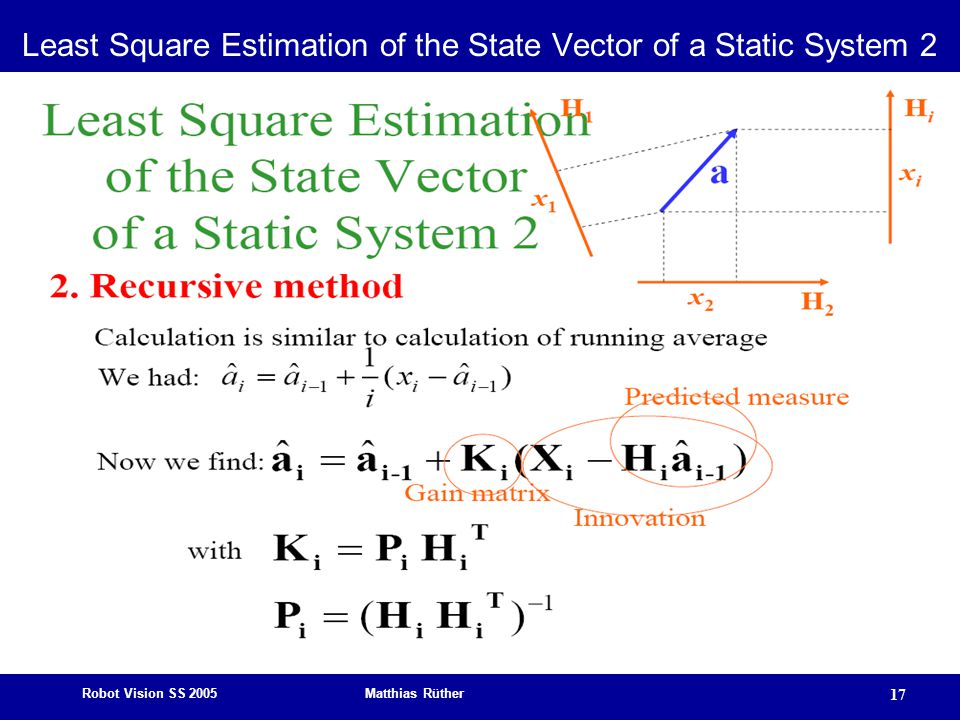 Robot Vision SS 2005 Matthias Rüther 17 Least Square Estimation of the State Vector of a Static System 2