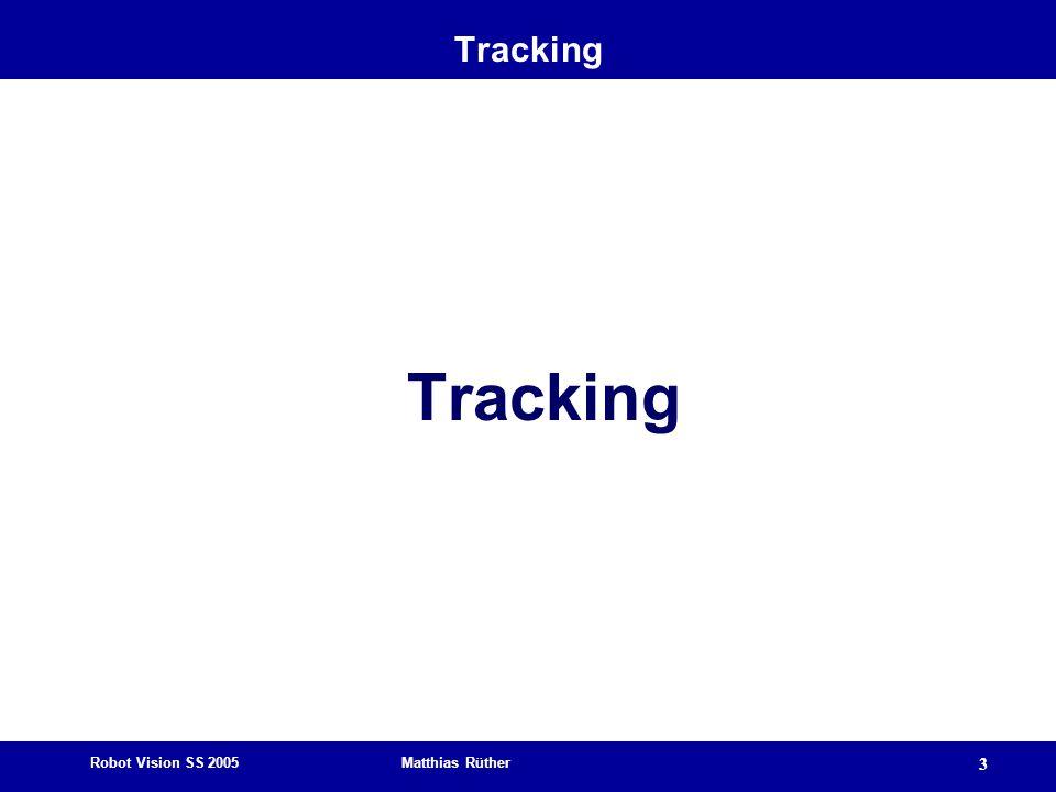 Robot Vision SS 2005 Matthias Rüther 3 Tracking