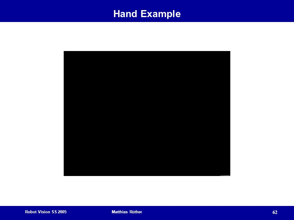 Robot Vision SS 2005 Matthias Rüther 62 Hand Example