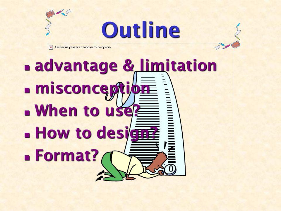 Outline advantage & limitation advantage & limitation misconception misconception When to use.