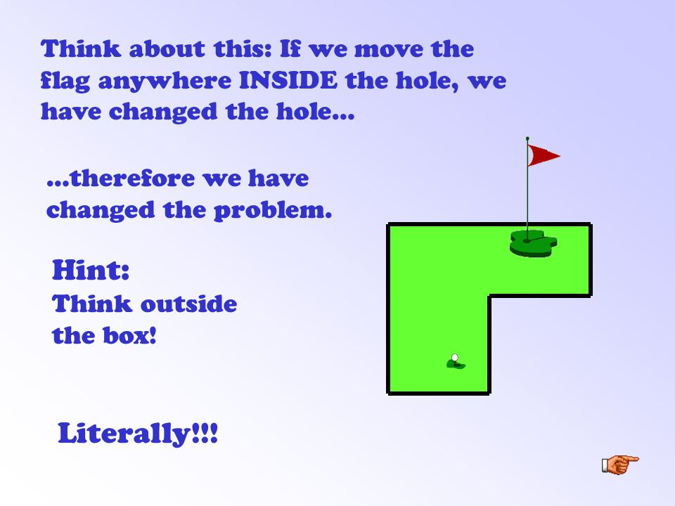 Think about this: If we move the flag anywhere INSIDE the hole, we have changed the hole… Hint: Think outside the box.