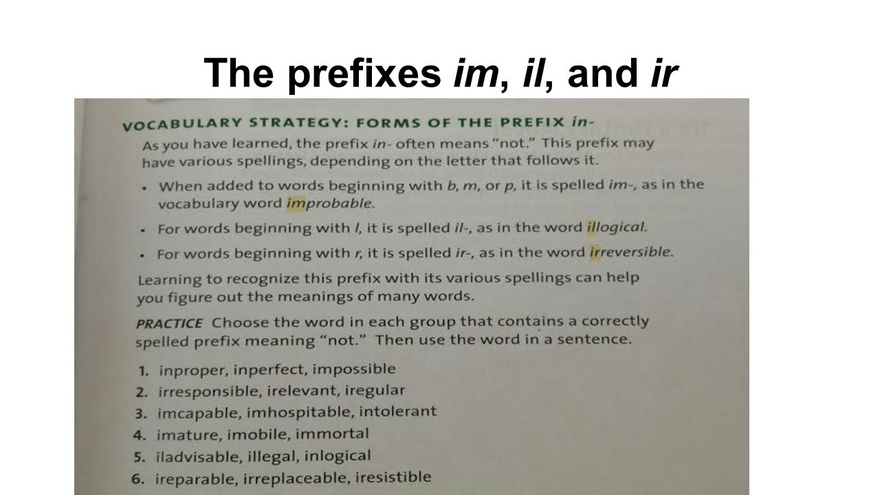 The prefixes im, il, and ir