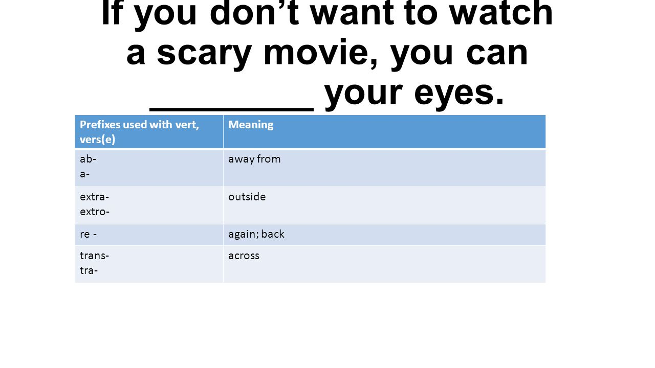 If you don't want to watch a scary movie, you can ________ your eyes. Prefixes used with vert, vers(e) Meaning ab- a- away from extra- extro- outside