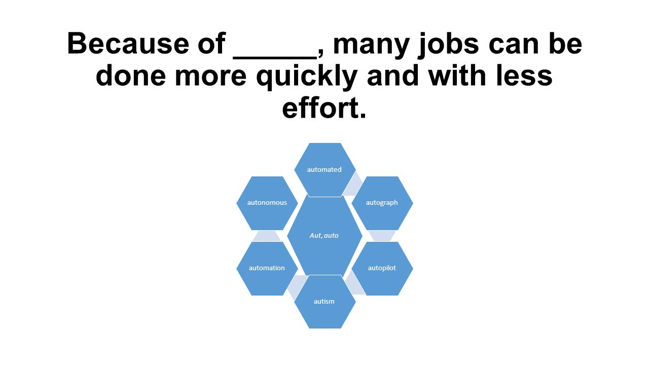Because of _____, many jobs can be done more quickly and with less effort.