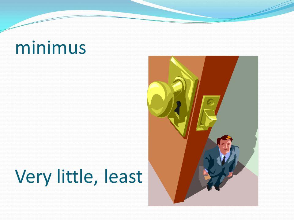 minimus Very little, least