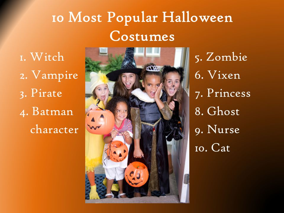 10 Most Popular Halloween Costumes 1. Witch 2. Vampire 3.