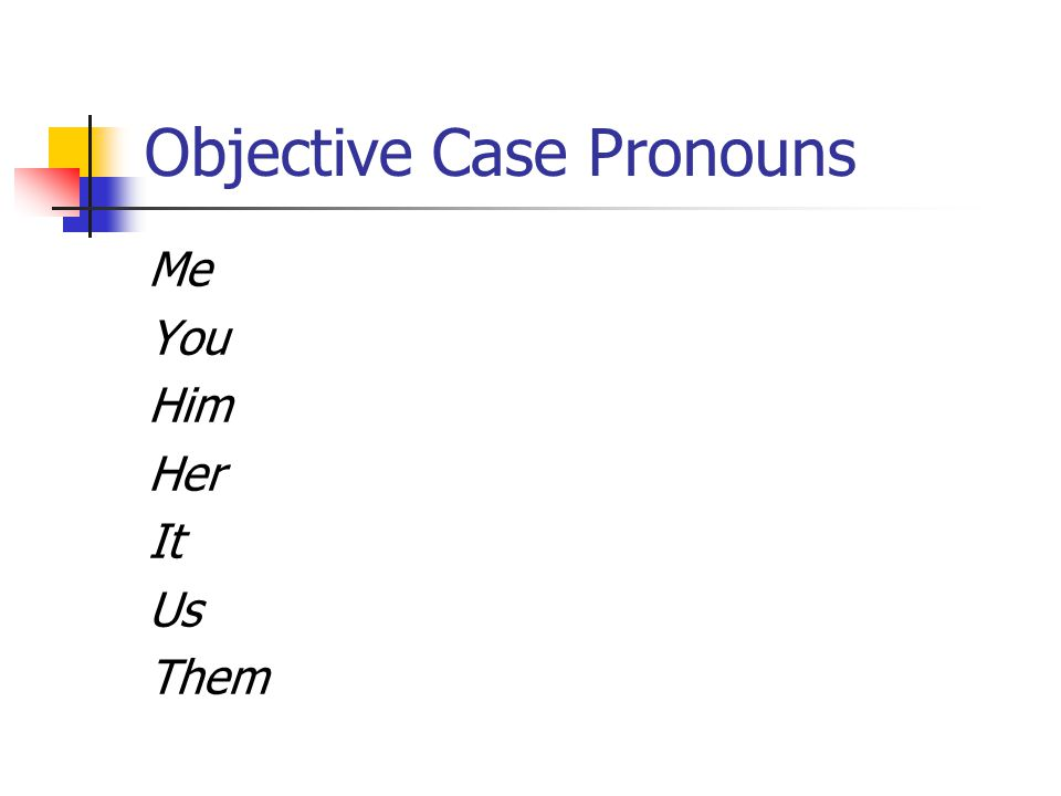Objective Case Pronouns Me You Him Her It Us Them