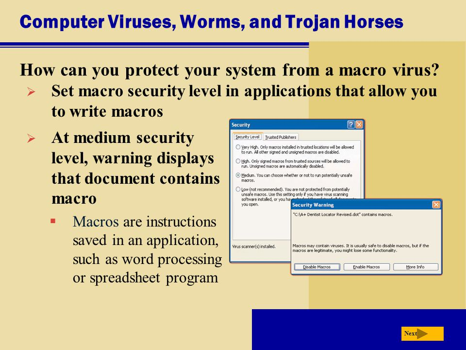 Computer Viruses, Worms, and Trojan Horses How can you protect your system from a macro virus? Next  Set macro security level in applications that al