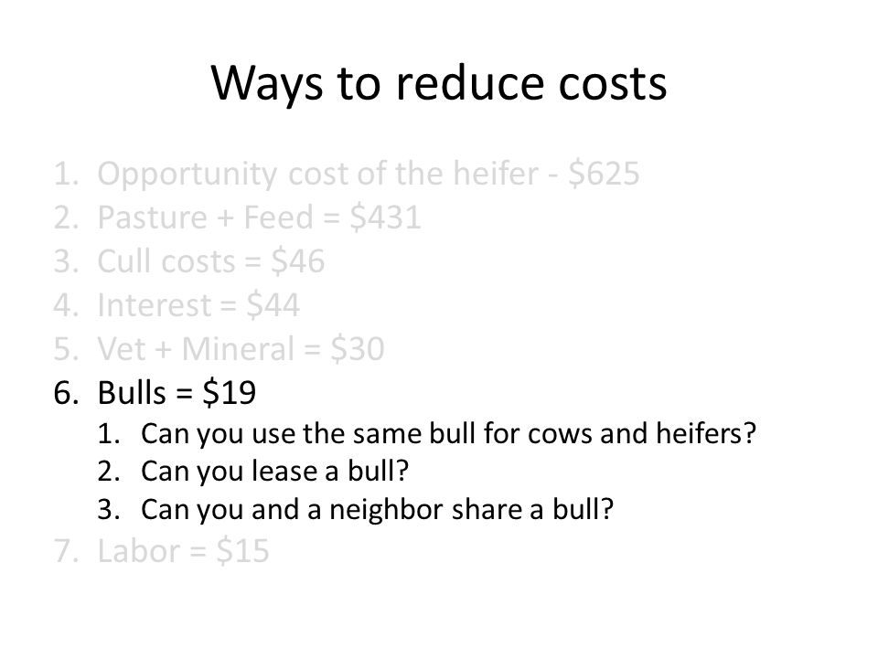 Ways to reduce costs 1.Opportunity cost of the heifer - $625 2.Pasture + Feed = $431 3.Cull costs = $46 4.Interest = $44 5.Vet + Mineral = $30 6.Bulls = $19 1.Can you use the same bull for cows and heifers.