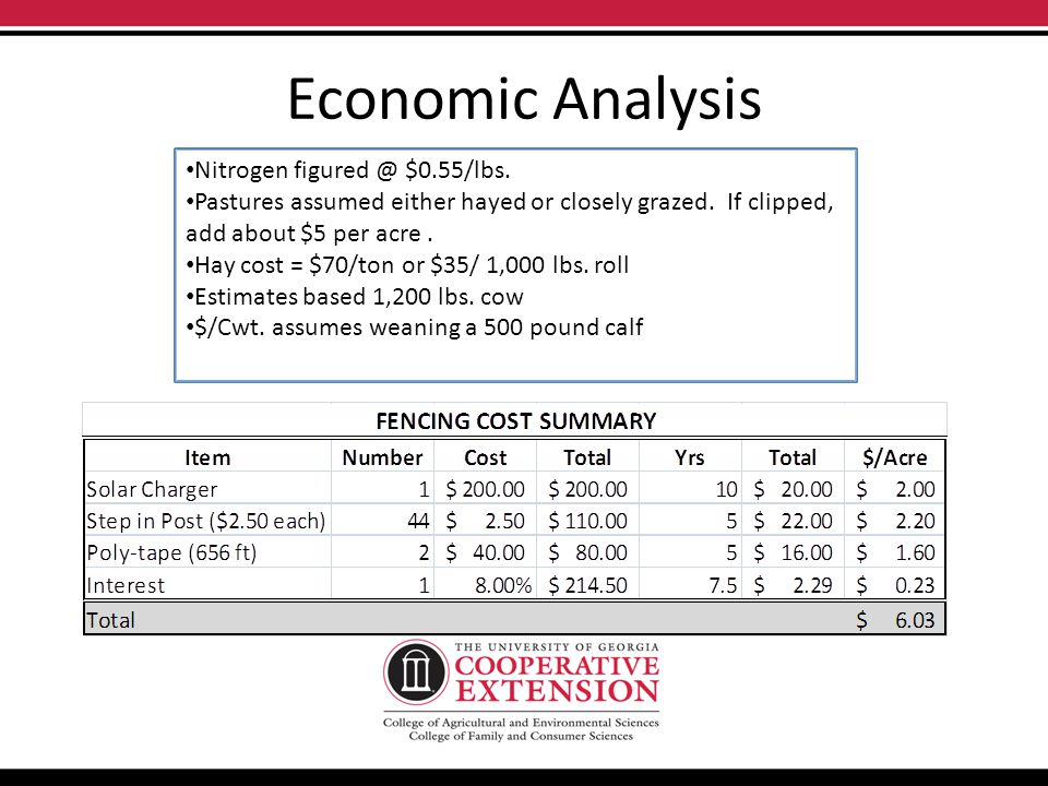 Economic Analysis Nitrogen figured @ $0.55/lbs. Pastures assumed either hayed or closely grazed.