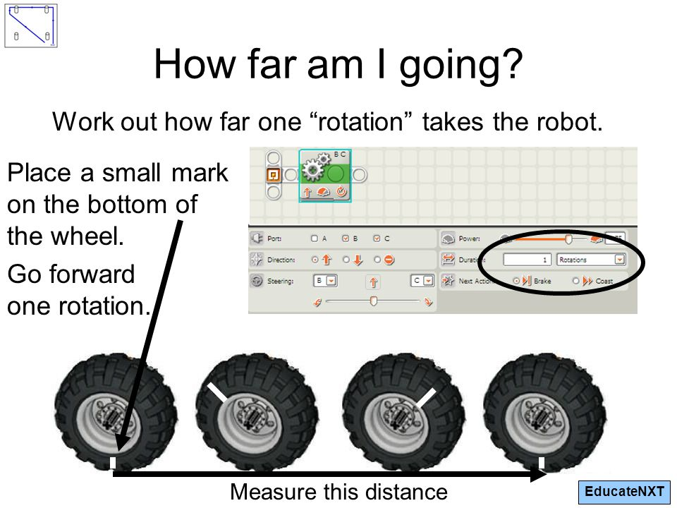 EducateNXT How far am I going.Work out how far one rotation takes the robot.