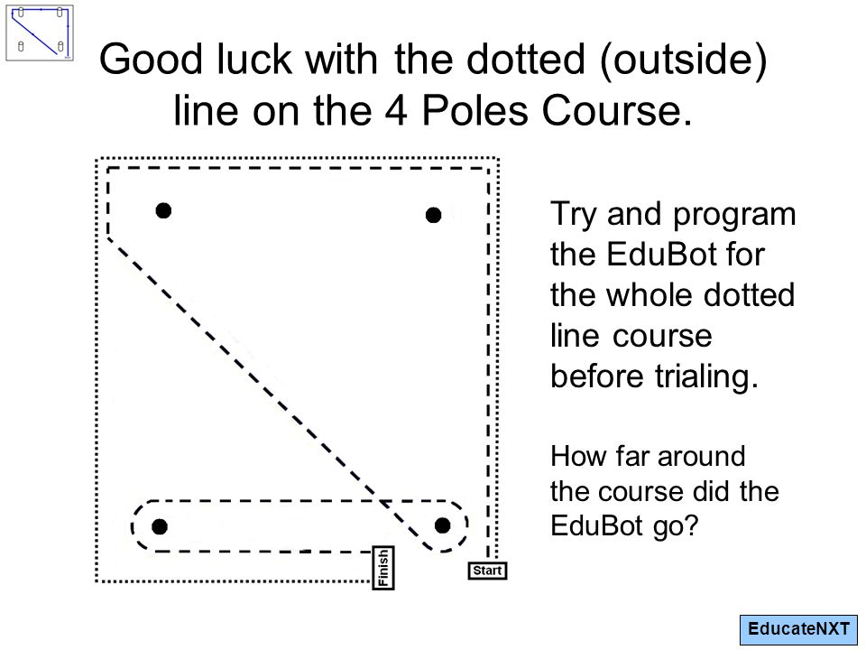 EducateNXT Good luck with the dotted (outside) line on the 4 Poles Course.