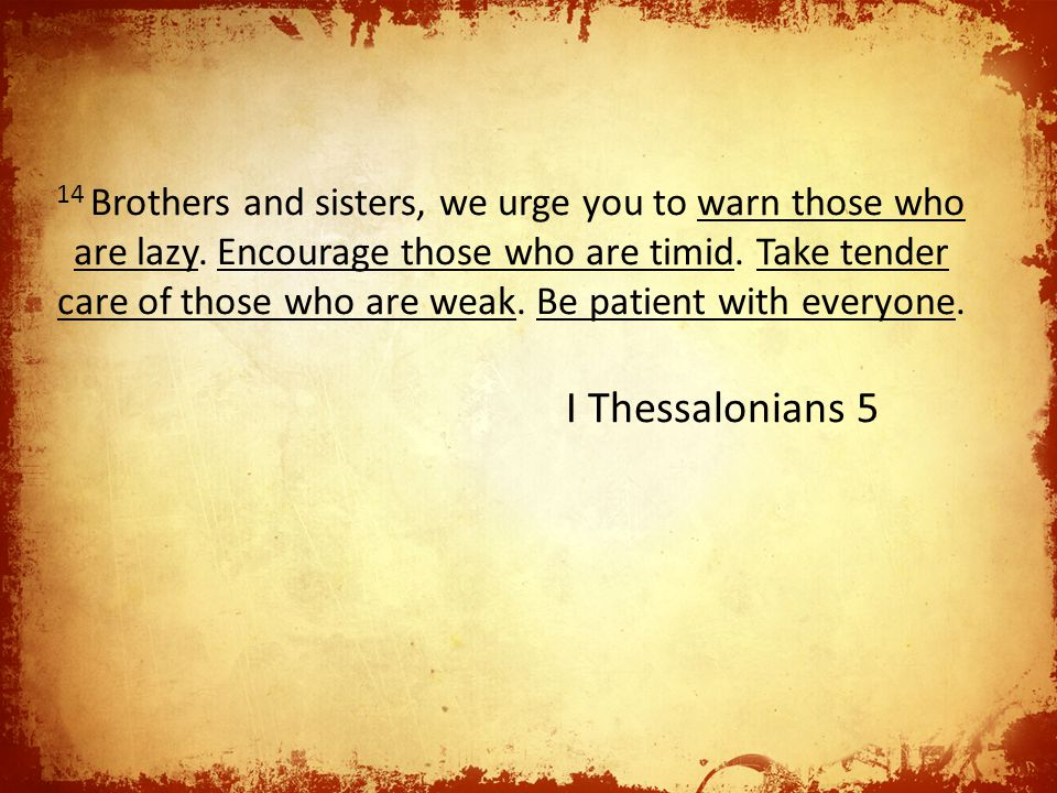 14 Brothers and sisters, we urge you to warn those who are lazy.