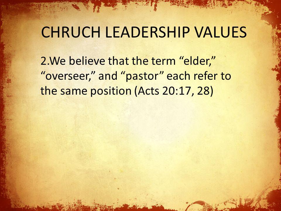 CHRUCH LEADERSHIP VALUES 3.