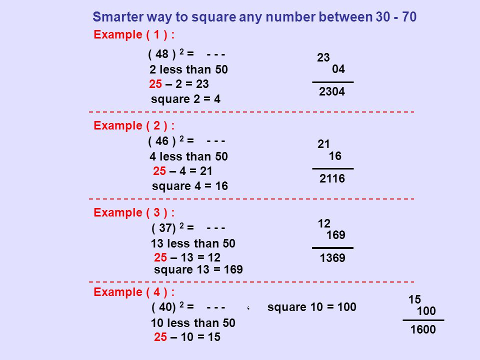 Example ( 1 ) : ( 48 ) 2 = - - - Example ( 2 ) : Example ( 3 ) : Example ( 4 ) : Smarter way to square any number between 30 - 70 2 less than 50 25 –