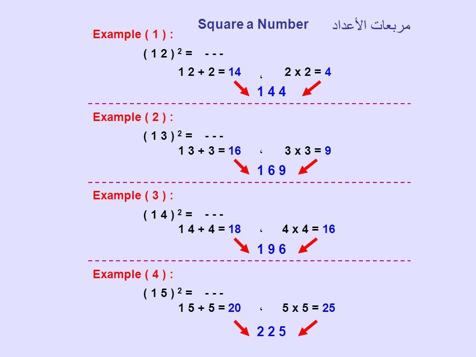 Example ( 1 ) : ( 1 2 ) 2 = - - - 1 2 + 2 = 14 ، 2 x 2 = 4 1 4 4 Example ( 2 ) : ( 1 3 ) 2 = - - - 1 3 + 3 = 16،3 x 3 = 9 1 6 9 Example ( 3 ) : ( 1 4
