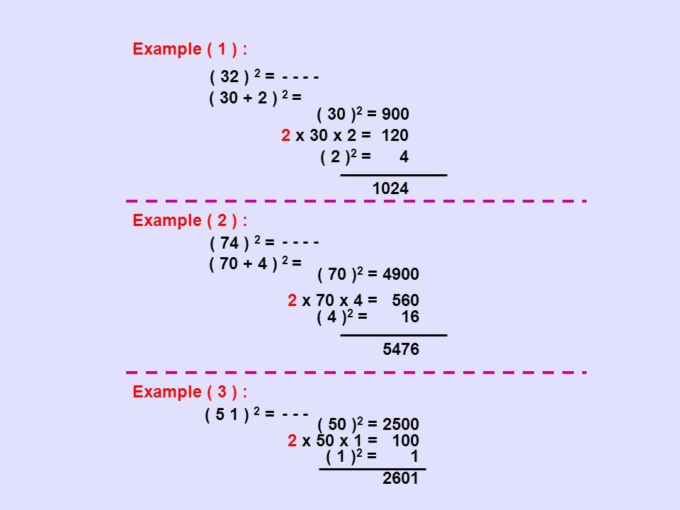 Example ( 1 ) : ( 32 ) 2 = - - ( 30 + 2 ) 2 = Example ( 2 ) : Example ( 3 ) : ( 5 1 ) 2 = - - - ( 30 ) 2 = 900 2 x 30 x 2 = 120 ( 2 ) 2 = 4 1024 ( 74