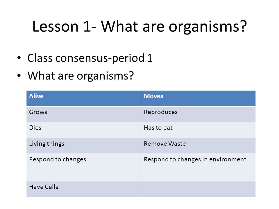 Lesson 1- What are organisms. Class consensus-period 1 What are organisms.