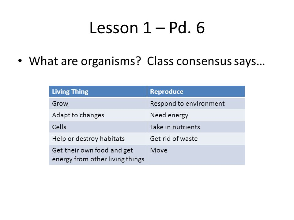 Lesson 1 – Pd.7 What are organisms.