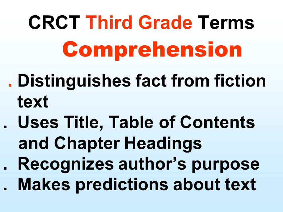 CRCT Third Grade Terms.Distinguishes fact from fiction text.
