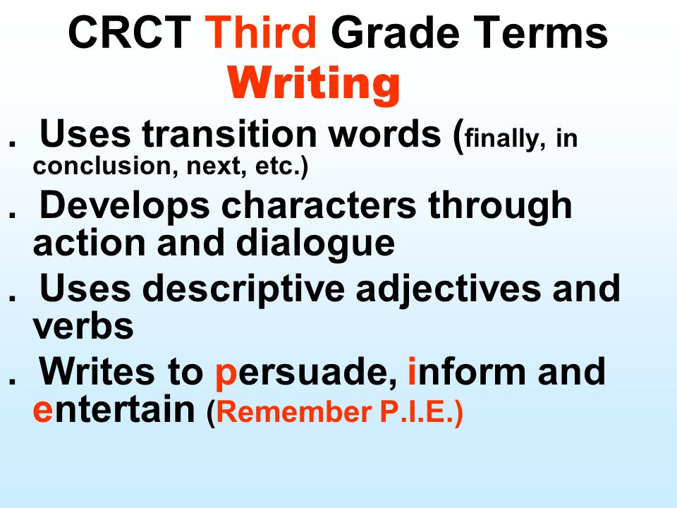 CRCT Third Grade Terms Writing. Uses transition words ( finally, in conclusion, next, etc.). Develops characters through action and dialogue. Uses des