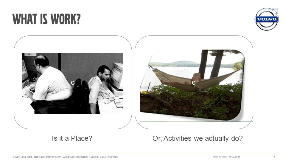 What is work. Is it a Place. 7 Or, Activities we actually do.