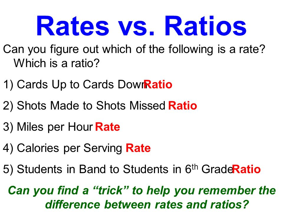 Rates vs. Ratios Rates and ratios are like identical twins.