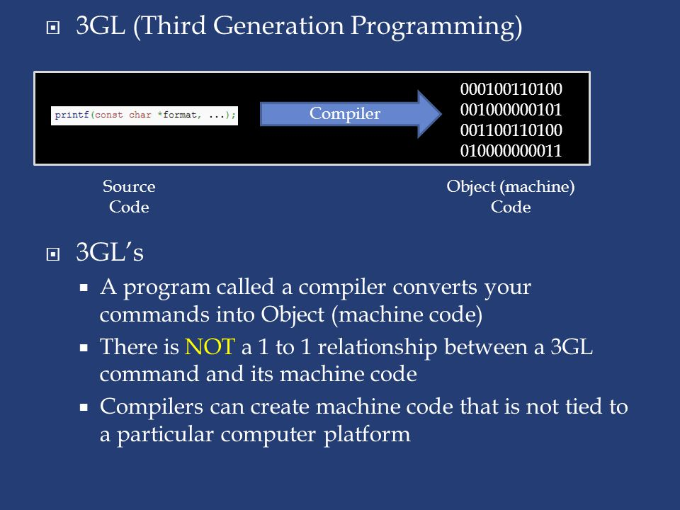  3GL's  A program called a compiler converts your commands into Object (machine code)  There is NOT a 1 to 1 relationship between a 3GL command and its machine code  Compilers can create machine code that is not tied to a particular computer platform  3GL (Third Generation Programming) 000100110100 001000000101 001100110100 010000000011 Compiler Source Code Object (machine) Code