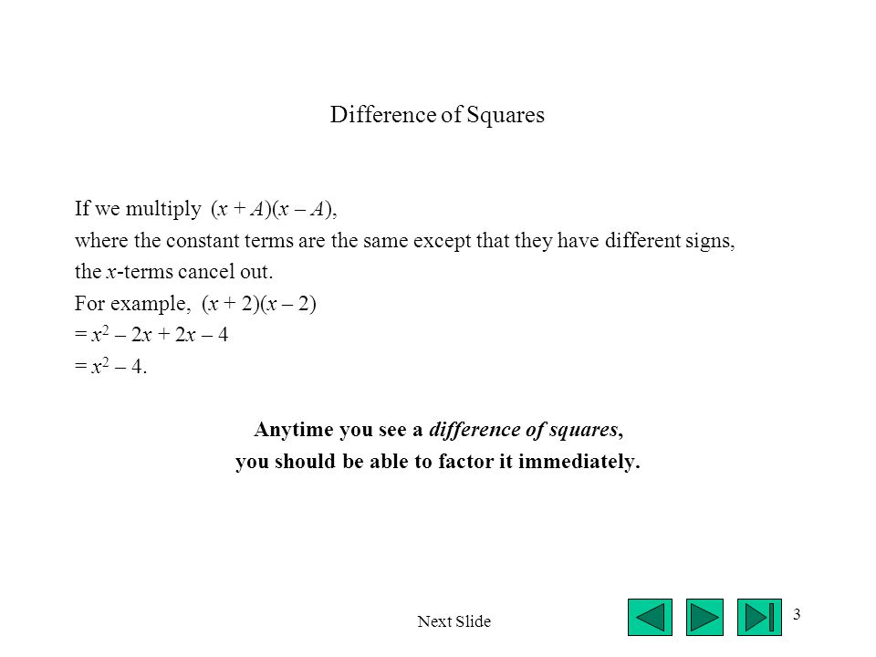 14 (Cont.) To solve x 2 – 2x – 3 = 0, factor the polynomial.