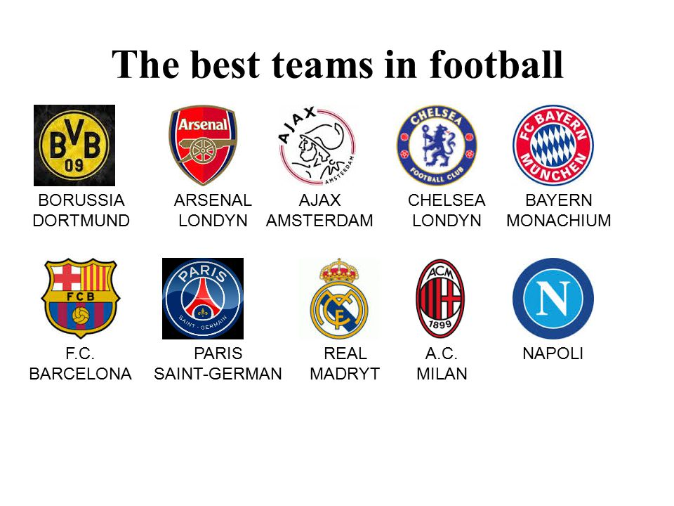 The best teams in football BORUSSIA DORTMUND ARSENAL LONDYN AJAX AMSTERDAM CHELSEA LONDYN BAYERN MONACHIUM F.C.