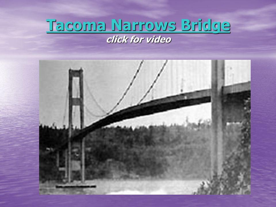 Tacoma Narrows Bridge Tacoma Narrows Bridge click for video Tacoma Narrows Bridge