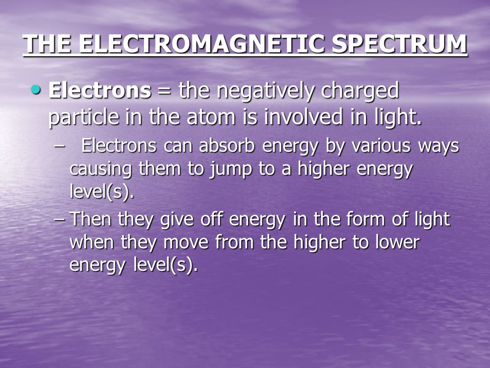 THE ELECTROMAGNETIC SPECTRUM Electrons = the negatively charged particle in the atom is involved in light.