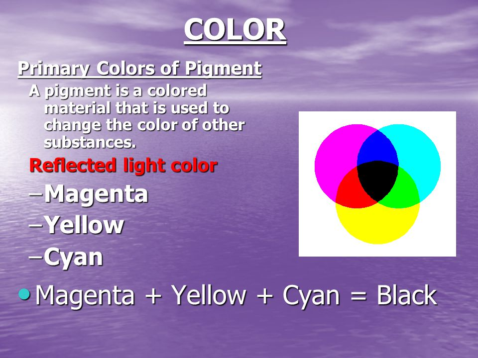 COLOR Primary Colors of Pigment A pigment is a colored material that is used to change the color of other substances.