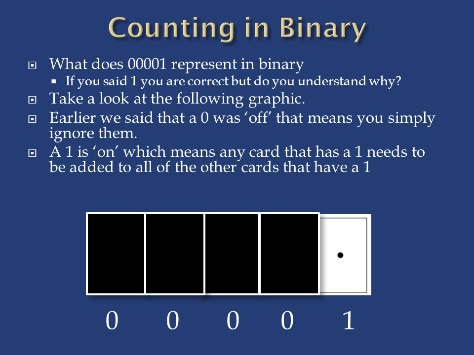  What does 00001 represent in binary  If you said 1 you are correct but do you understand why.