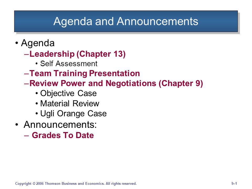 9–12Copyright © 2006 Thomson Business and Economics.
