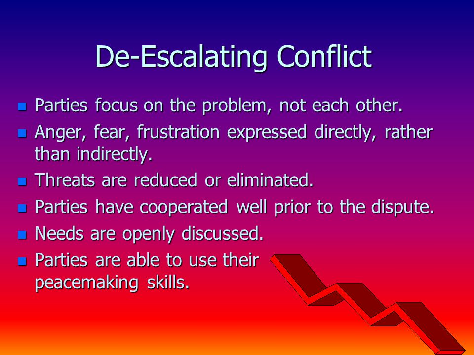 De-Escalating Conflict n Parties focus on the problem, not each other.