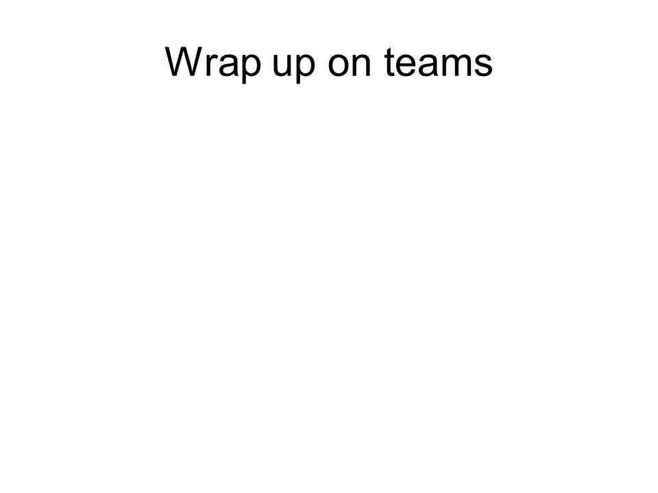 Wrap up on teams