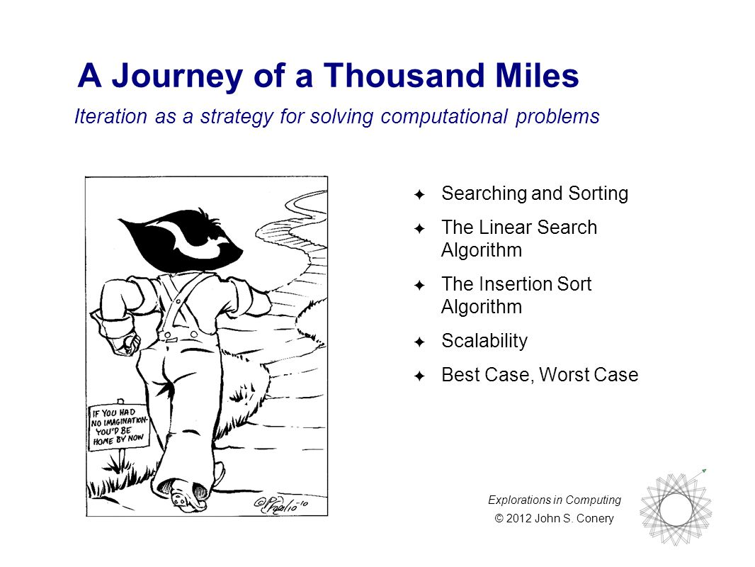 Explorations in Computing © 2012 John S. Conery Iteration as a strategy for solving computational problems A Journey of a Thousand Miles ✦ Searching a