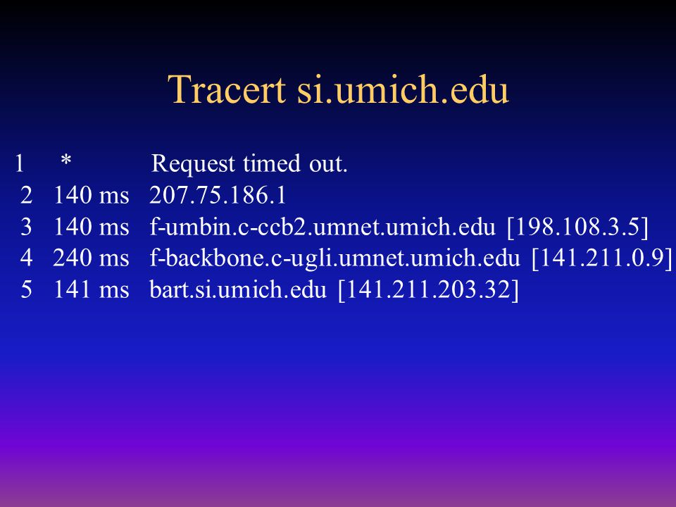 HTTP example When a browser fetches http://www.si.umich.edu/~presnick/ –http:// says to use HTTP protocol –Resolve www.si.umich.edu in DNS 141.211.203.34 –Make TCP connection 141.211.203.34, port 80 –Send the following text string GET /~presnick/ HTTP/1.1 Host: www.si.umich.edu